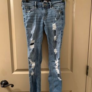 Low Rise Ripped Super Skinny Hollister Jeans